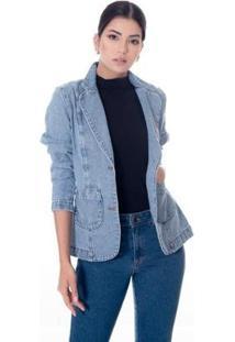 Blazer Jeans Slim - Feminino-Azul