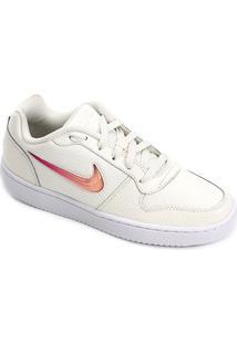 Calçado Tênis Off White Acolchoado Feminino Nike Rosa Casual Ilhós Prem Whiterosa Ebernon Wmns Feminino Off Low