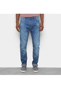 Calça Jeans Slim Colcci Enrico Estonada Masculina - Masculino-Azul