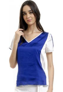 Blusa 101 Resort Wear Tunica Decote V Cetim Bicolor Azul Off
