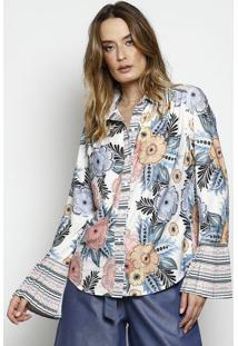 e9d975714a ... Camisa Floral Com Plissado- Branca   Azul- Nemnem