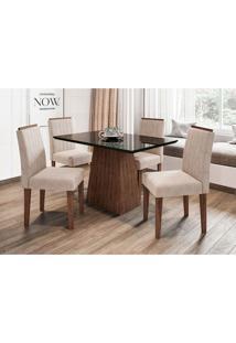 Conjunto De Mesa De Jantar Com Tampo De Vidro Jasmin E 4 Cadeiras Ana I Animalle Nero E Creme