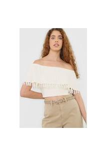 Blusa Cropped Tricot Colcci Ombro A Ombro Off-White