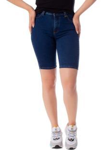 Bermuda Jeans Feminina Max Denim Azul Escuro - 40