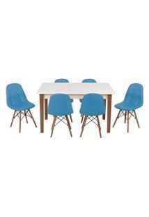 Conjunto Mesa De Jantar Luiza 135Cm Branca Com 6 Cadeiras Botonê - Turquesa