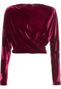 Blusa Feminina Cruzada Com Amarração - Vinho