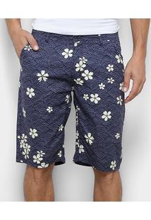 Bermuda Sarja Watkins & Brown Bolso Faca Estampa Floral Masculina - Masculino-Azul