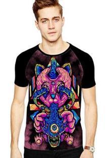 Camiseta Stompy Raglan Modelo 33 Masculina - Masculino-Preto
