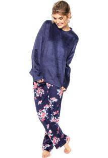 cd28566f0092cf Pijama Any Any Soft Navy Flower Azul-Marinho