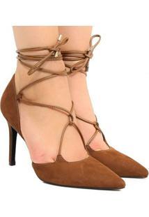 Scarpin Amarração Zariff Shoes - Feminino-Marrom