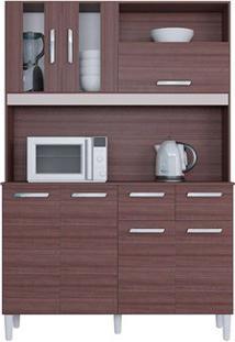 Cozinha Ellen 7 Portas Capuccino/Offwhite/Amarelo Flex- Lc Móveis