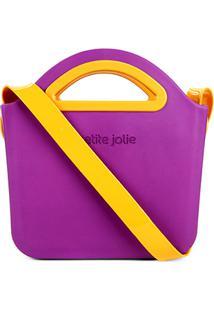 Bolsa Transversal Petite Jolie Flix Feminina - Feminino-Roxo+Amarelo