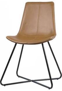 Cadeira Balle Courino Caramelo Base Preto 84Cm - 62862 - Sun House