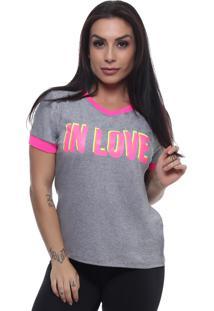 T-Shirt Tee Fashion In Love Cinza