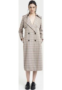 Casaco Trench Coat Feminino Mindset Xadrez Bege