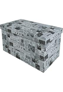 Puff Baú Desmontável Retangular Newspaper 72X36Cm Preto E Branco