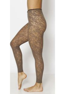 Meia Calça Legging Floral - Cinza Escuro - Fio 40Trifil