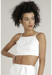 Top Cropped Feminino Listrado Halter Neck Com Nó Off White