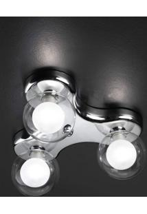 Plafon Sobrepor De Metal 14Cmx28Cmbella Iluminação Cromado