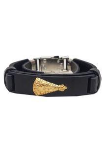 Bracelete Nossa Senhora Preto Com Dourado.