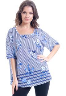 Blusa 101 Resort Wear Estampada Malha Fria Listrada Flor