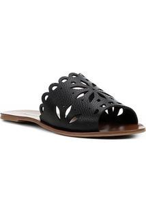 Rasteira Couro Shoestock Slide Flor - Feminino-Preto