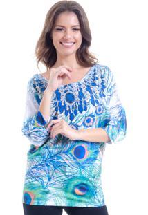 Blusa 101 Resort Wear Morcego Jersey Pavao Azul - Azul - Feminino - Dafiti