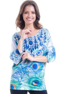 Blusa 101 Resort Wear Morcego Jersey Pavao Azul