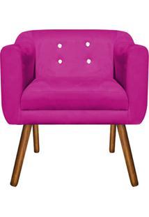 Poltrona Decorativa Julia Suede Pink Com Strass - D'Rossi