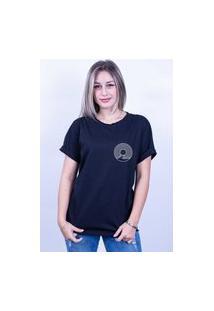 Camiseta Bilhan Corte A Fio Surf Disco Pqn Preta