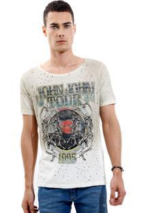 Camiseta John John Rg Vintage Tour Malha Bege Masculina Tshirt Rg Vintage Tour-Bege Medio-G
