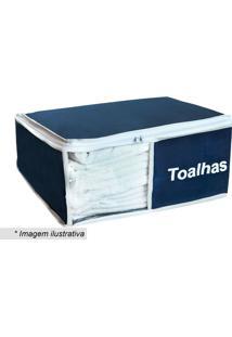 Organizador De Toalhas- Azul Marinho & Branco- 17X46Vb Home