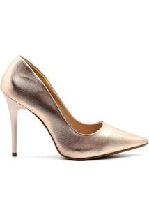 Scarpin Royalz Metalizado Salto Fino Penélope Feminino - Feminino-Dourado