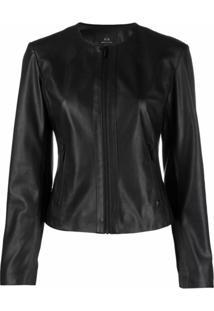 Armani Exchange Faux Leather Collarless Jacket - Preto