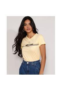"Camiseta Feminina Manga Curta Simba O Rei Leão Rock 'N' Roar"" Flocada Decote Redondo Amarela"""