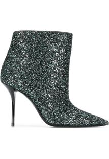 Saint Laurent Ankle Boot De Couro Com Glitter - Verde