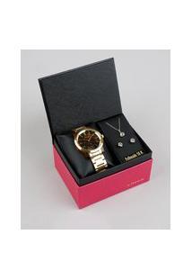 Kit De Relógio Analógico Lince Feminino + Brinco + Colar - Lrt612P Ku99M1Kx Dourado