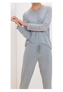 Pijama Longo Mescla Com Renda Lupo (24256-001) Viscose