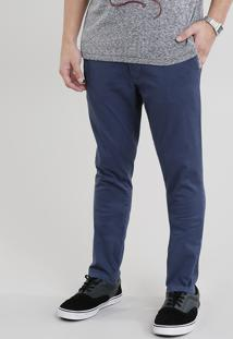 Calça De Sarja Masculina Chino Skinny Azul Marinho