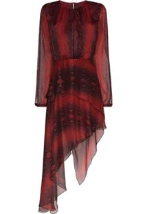 Amiri Vestido Assimétrico Com Estampa De Pele De Cobra - Vermelho