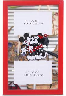 Porta Retrato Minas De Presentes Espelho Moldura Para 2 Fotos 10X15Cm Mickey & Minnie - Disney Vermelha