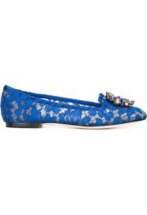 Dolce & Gabbana Sapatilha De Renda Floral - Azul