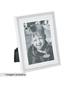 Porta Retrato Retangular- Prateado & Branco- Tamanhobtc Decor