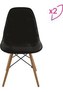 Conjunto De Cadeiras Eiffel Botonê Sem Braço- Preto & Marivatti