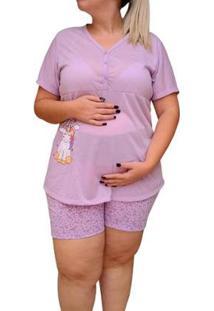 Pijama Doll Plus Size Linda Gestante Amamentação Botões Unicórnio Feminino - Feminino-Lilás
