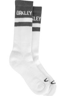 Meia Oakley Cano Alto Mod Atlhetic Sock Masculina - Masculino-Branco