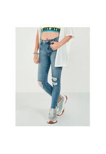 Calça Jeans Barra Desfiada Skinny