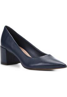 Scarpin Couro Shoestock Salto Médio Basic - Feminino-Marinho