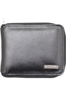 Carteira Corazzi Leather Deluxe Zíper Preta