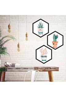 Kit 2 Quadros Com Moldura Hexagonal Cactus